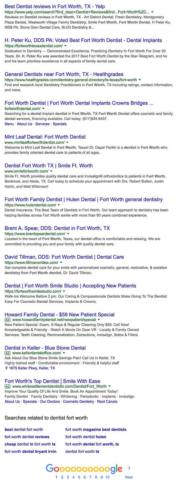 Dentist Fort Worth Result Below Map Pack