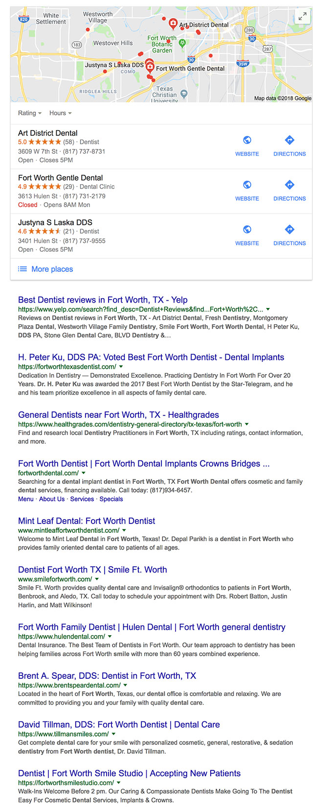 Dentist Fort Worth Organic Search Results